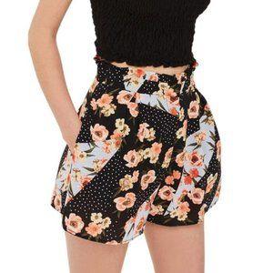 Topshop Pansy & Spot Printed Ruffle Waist Shorts 6